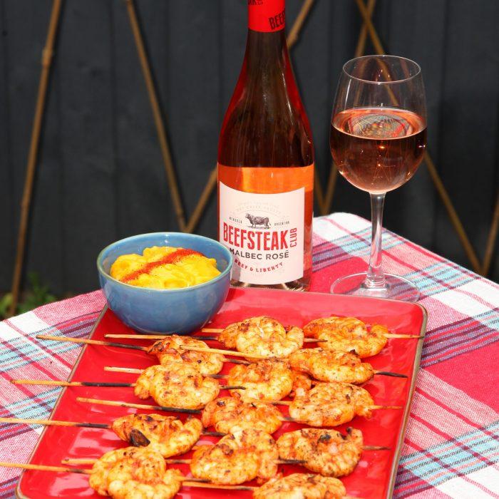 Smoky Paprika & Garlic Prawns served with Beefsteak Club Malbec Rosé